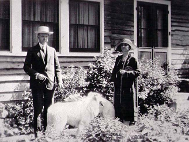 President and Mrs. Coolidge with their Collies
